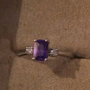 Silver diamond and amethyst ring size 5